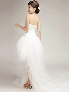 Glamorous Princess Tulle Strapless Tube Top Asymmetrical Beading Wedding Dresses