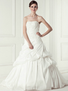 Graceful Ball Gown Taffeta Cathedral Train Pick-Ups Wedding Dresses