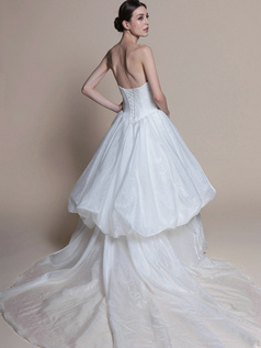 Graceful Ball Gown Taffeta Chapel Train Pick-Ups Wedding Dresses