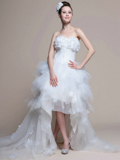 Graceful Princess Tulle Asymmetrical Train Tiered Wedding Dresses