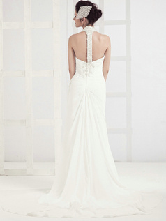 Graceful Column Chiffon Halter Sequin Wedding Dresses