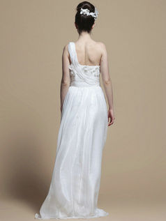 Graceful Column One shoulder Floor-length Flower Wedding Dresses