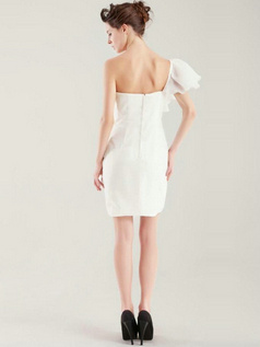 Great Column Chiffon One shoulder Wedding Dress