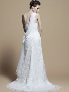 Great Column Lace One shoulder Sweep Wedding Dresses