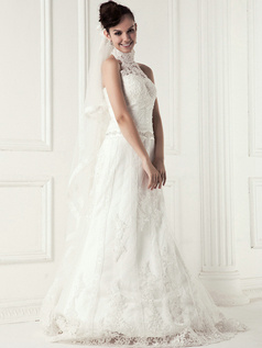 Happiness A-line Lace High neck Sweep Wedding Dresses