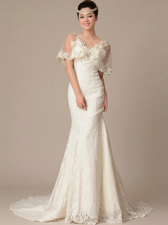 Happiness Mermaid Lace V-neck Crystal Wedding Dresses