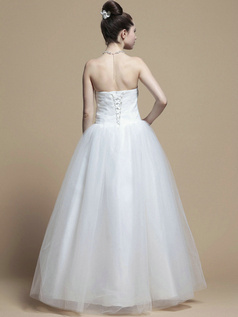 Lovely A-line Tube Top Floor-length Beading Wedding Dresses