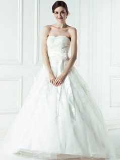 Lovely Ball Gown Tulle Cathedral Train Embroidery Wedding Dresses