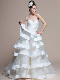 Lovely Ball Gown Tulle Chapel Train Tiered Wedding Dresses