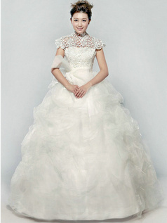 Luxurious Ball Gown Organza High neck Pick-Ups Wedding Dresses