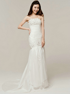 Luxurious Mermaid Taffeta Strapless Tube Top Beading Wedding Dresses