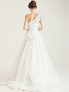 Magnificent A-Line One shoulder Flower Natural Tulle Wedding Dress