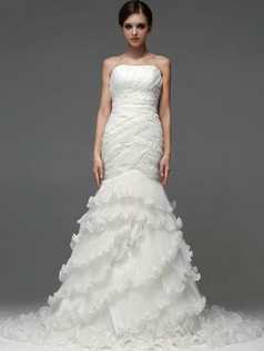 Mermaid Organza Tube Top Strapless Lace-up Cascading Ruffle Wedding Dresses