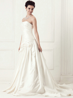 Noble A-line Satin Cathedral Train Side-draped Wedding Dresses
