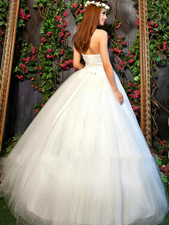 Noble Ball Gown Halter Floor-length Draped Wedding Dresses