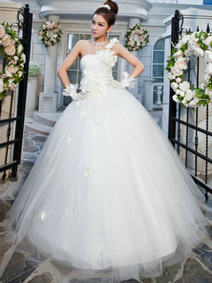 Noble Ball Gown One shoulder Floor-length Flower Wedding Dresses