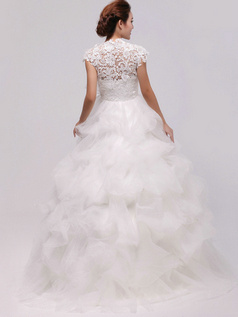 Noble Ball Gown Organza Round Brought Pick-Ups Wedding Dresses
