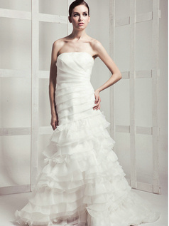 Noble Mermaid Tulle Chapel Train Tiered Wedding Dresses