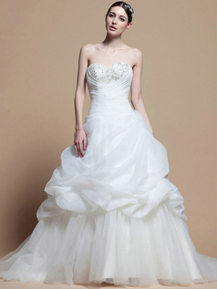 Noble Princess Organza Cathedral Train Pick-Ups Wedding Dresses