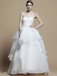 Noble Princess Organza Sweep Cascading Ruffle Wedding Dresses