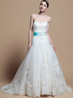Perfect A-line Lace Chapel Train Ribbons Wedding Dresses