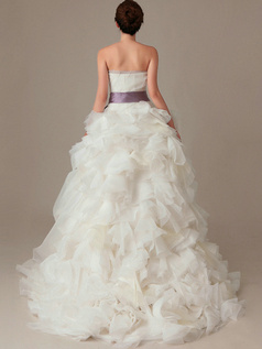 Perfect Ball Gown Organza Sweep Sashes Wedding Dresses