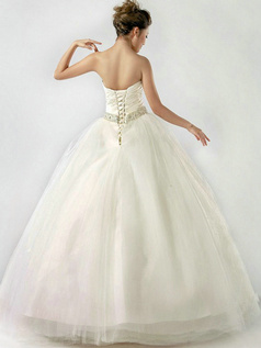 Perfect Ball Gown Sweetheart Floor-length Draped Wedding Dresses