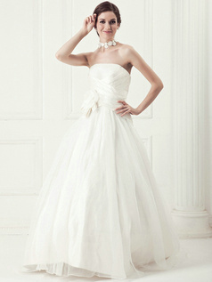 Perfect Ball Gown Tulle Sweep Flower Wedding Dresses