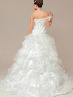 Perfect Princess Organza Off-the-shoulder Cascading Ruffle Wedding Dresses