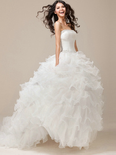Perfect Princess Strapless Tube Top Organza Natural Wedding Dress