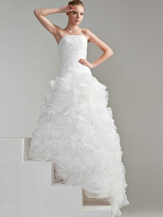 Princess Organza Tube Top Strapless Lace-up Floor-length Cascading Ruffle Wedding Dresses