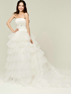 Pure Color Classic A-Line Tulle Strapless Tube Top Tiered Bowknot Wedding Dresses