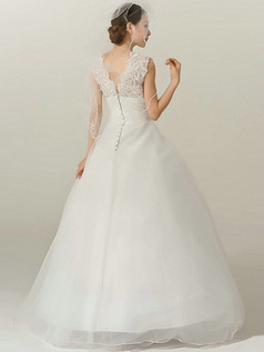 Shining A-Line Tulle Straps Floor-length Lace Flower Wedding Dresses