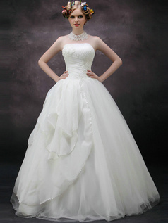 Surpassingly Beautiful Ball Gown Strapless Tube Top Floor-length Tulle Beading Side-draped Wedding Dresses