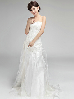 Tactile Sensation Column Organza Strapless Tube Top Beading Wedding Dresses