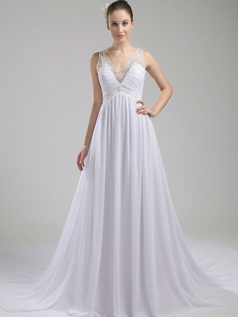 Graceful A-Line Chiffon V-neck Chapel Train Wedding Dresses
