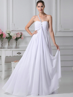 Graceful A-Line Chiffon One shoulder Floor-length Wedding Dresses