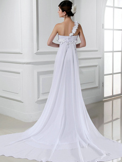 Elegant Column Chiffon One shoulder Flower Wedding Dresses