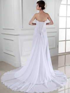 Fantastic Column Chiffon Tube Top Flower Wedding Dresses