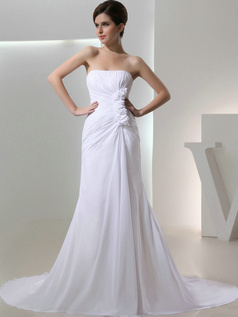 Noble Mermaid Chiffon Sweetheart Flower Wedding Dresses