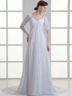 A-line V-neck Sweep Chiffon Half Sleeve Draped Wedding Dresses