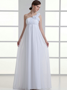 Column One Shoulder Floor-length Chiffon Flower Draped Wedding Dresses
