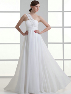 A-line One Shoulder Floor-length Chiffon Sashes Wedding Dresses