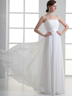 Column Tube Top Floor-length Chiffon Draped Wedding Dresses