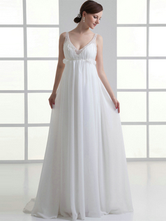 A-line V-neck Straps Sweep Chiffon Beading Sequin Wedding Dresses