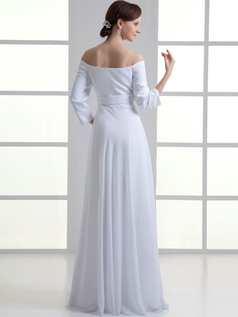 A-line Off-the-shoulder Floor-length Chiffon 3/4 Length Sleeve Wedding Dresses With Crystal