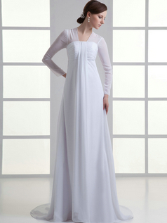 A-line Bateau Brush Train Chiffon Long Sleeve Tiered Wedding Dresses