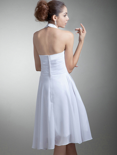 A-line Halter Short Chiffon Tiered Wedding Dresses