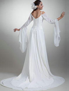 A-line Spaghetti Straps Brush Train Chiffon 3/4 Length Sleeve Wedding Dresses With Side-draped