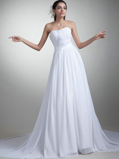 A-line Strapless Sweetheart Brush Train Chiffon Draped Wedding Dresses
